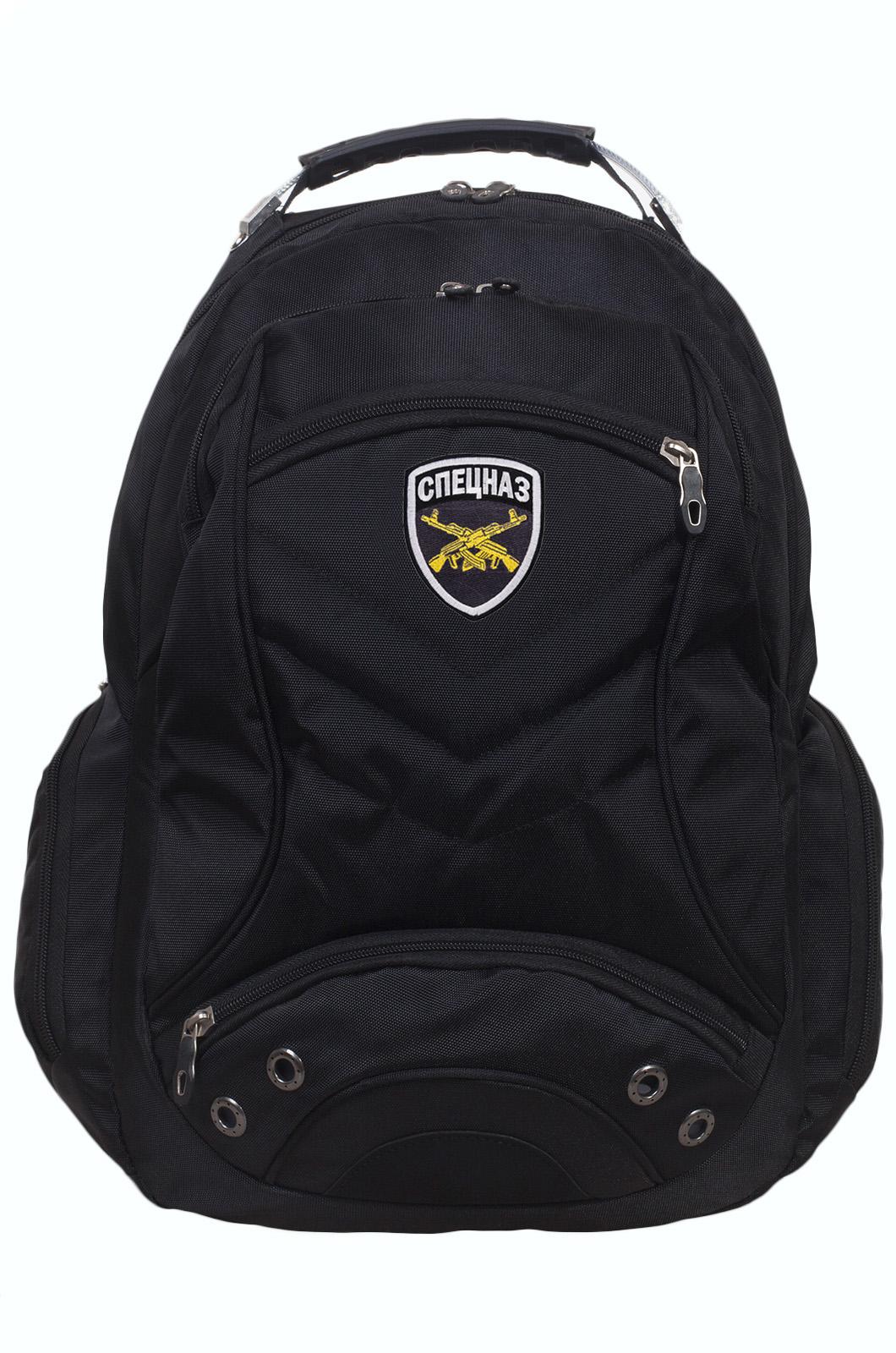 Черный городской рюкзак с шевроном Спецназ