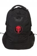 Черный крутой рюкзак с нашивкой Каратель