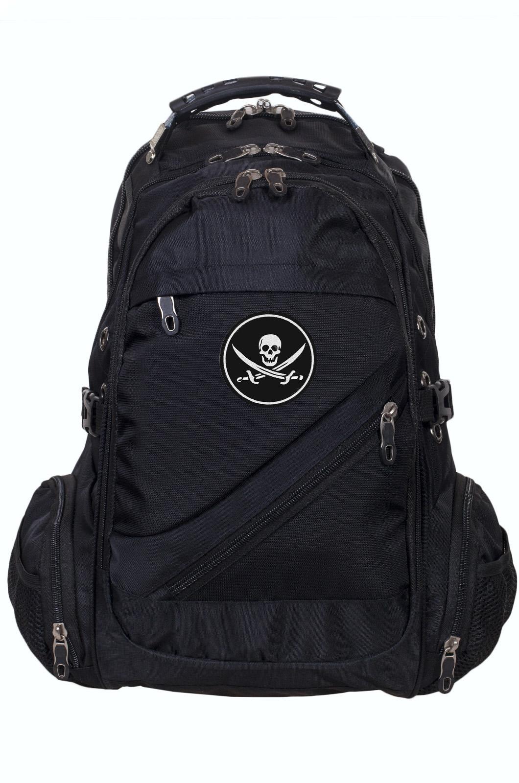 Черный мужской рюкзак с нашивкой Череп