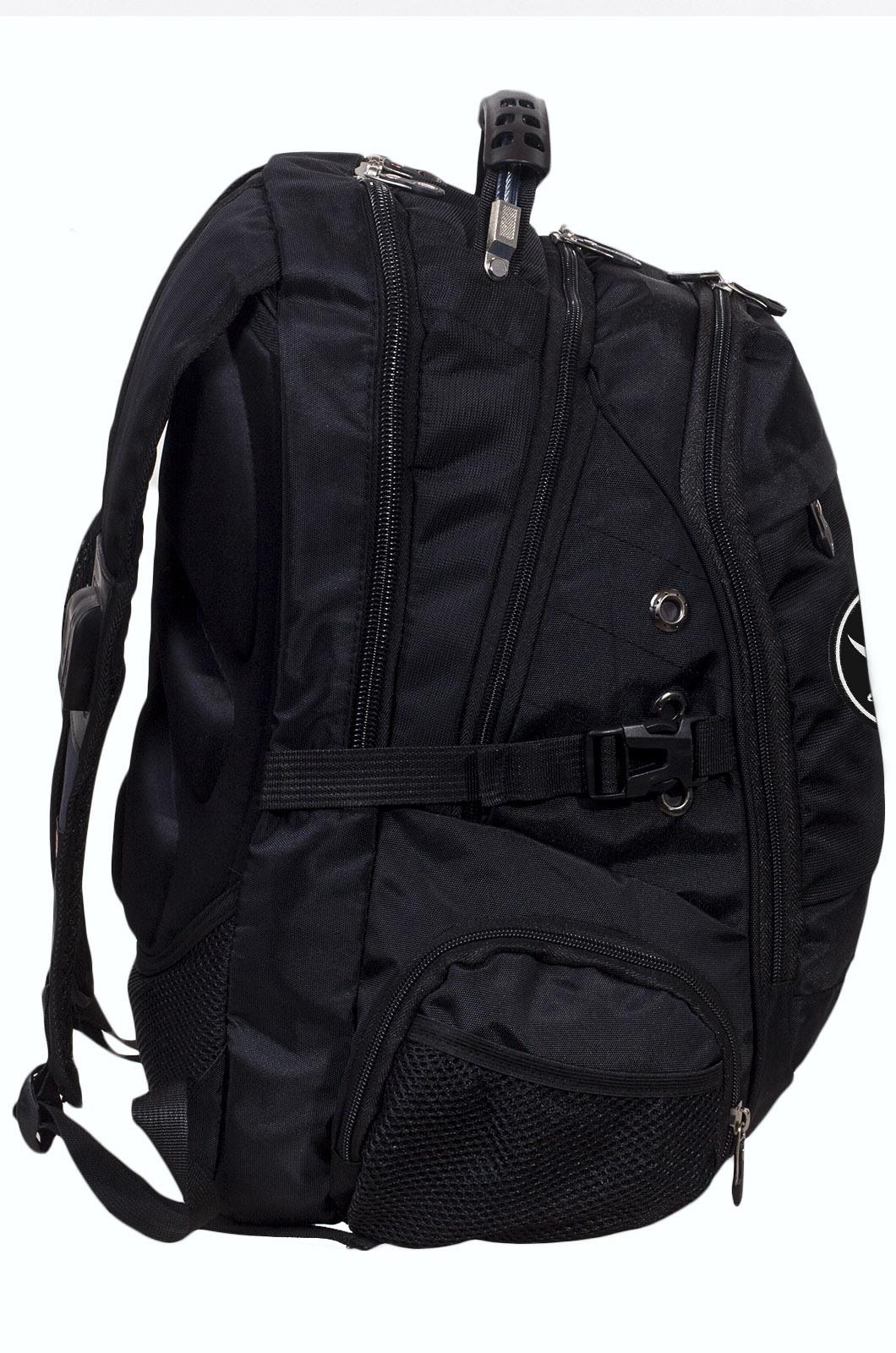 Заказать черный мужской рюкзак с нашивкой Череп