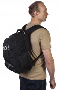 Заказать черный мужской рюкзак с нашивкой МОРПЕХ
