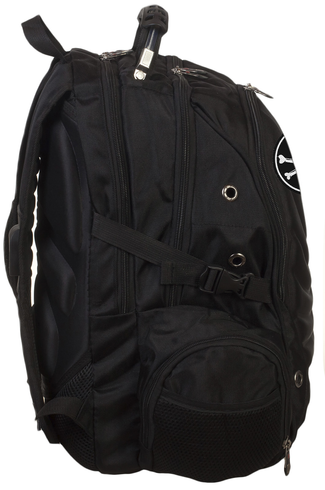 Черный надежный рюкзак с нашивкой Пиратский флаг - заказать оптом
