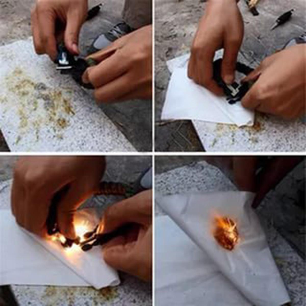 Чёрный плетёный браслет с огнивом