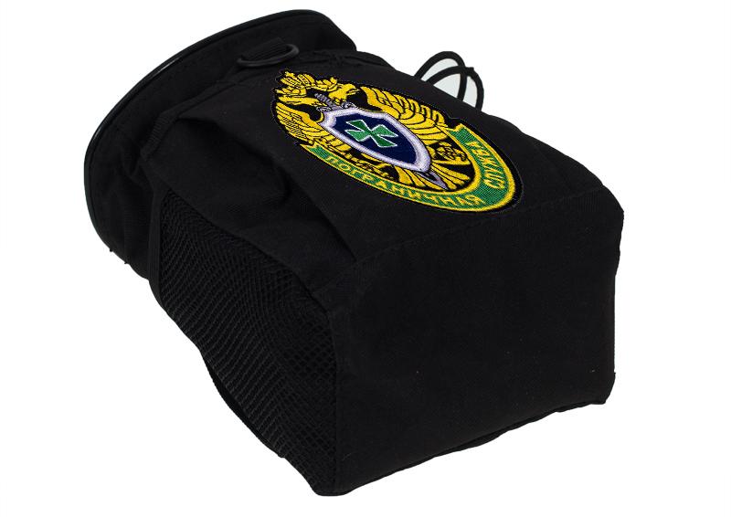 Купить черный подсумок для фляги с нашивкой Погранвойска с доставкой онлайн