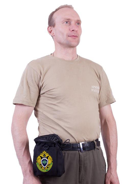 Черный подсумок для фляги с нашивкой Погранвойска - заказать оптом
