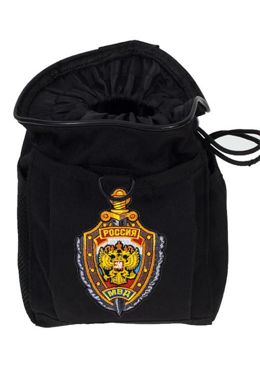 Черный подсумок под флягу с эмблемой МВД - универсальное крепление на поясе и рюкзаке