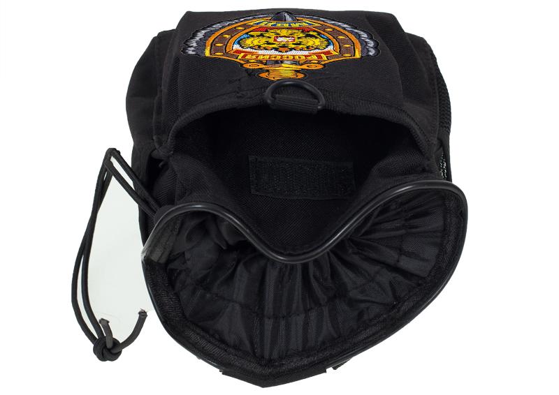 Черный подсумок под флягу с эмблемой МВД - универсальное крепление на поясе и рюкзаке заказать в Военпро