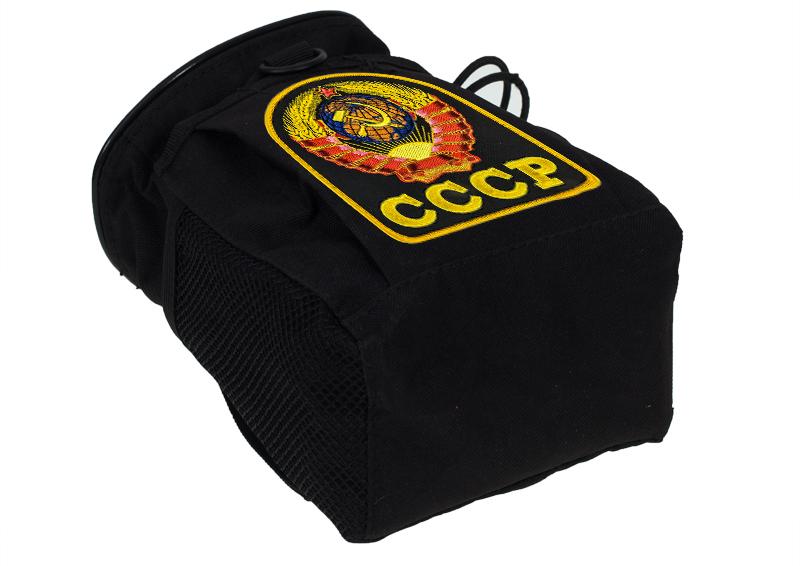 Черный подсумок под флягу с эмблемой СССР - универсальное крепление на поясе и рюкзаке