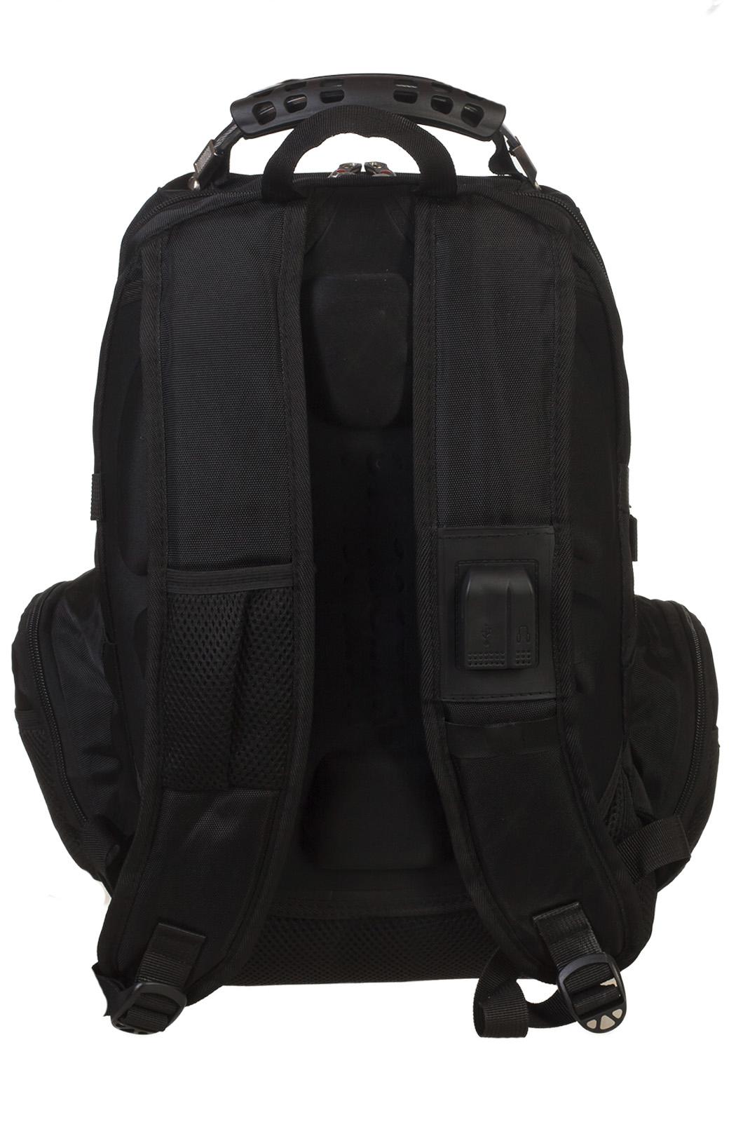 Заказать черный рюкзак с символичным шевроном Русская охота