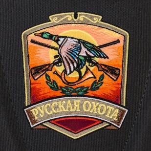 Черный рюкзак с символичным шевроном Русская охота купить оптом