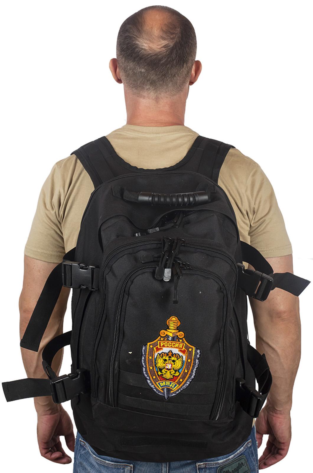 Черный рюкзак универсального назначения 3-Day Expandable Backpack 08002B Black с эмблемой МВД