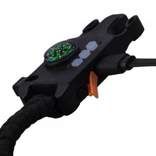Черный тактический браслет из паракорда с компасом