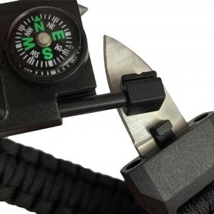 Черный тактический браслет с часами, скрытым ножом и компасом