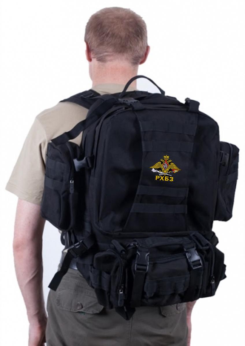Черный трехдневный рюкзак с эмблемой РХБЗ купить оптом