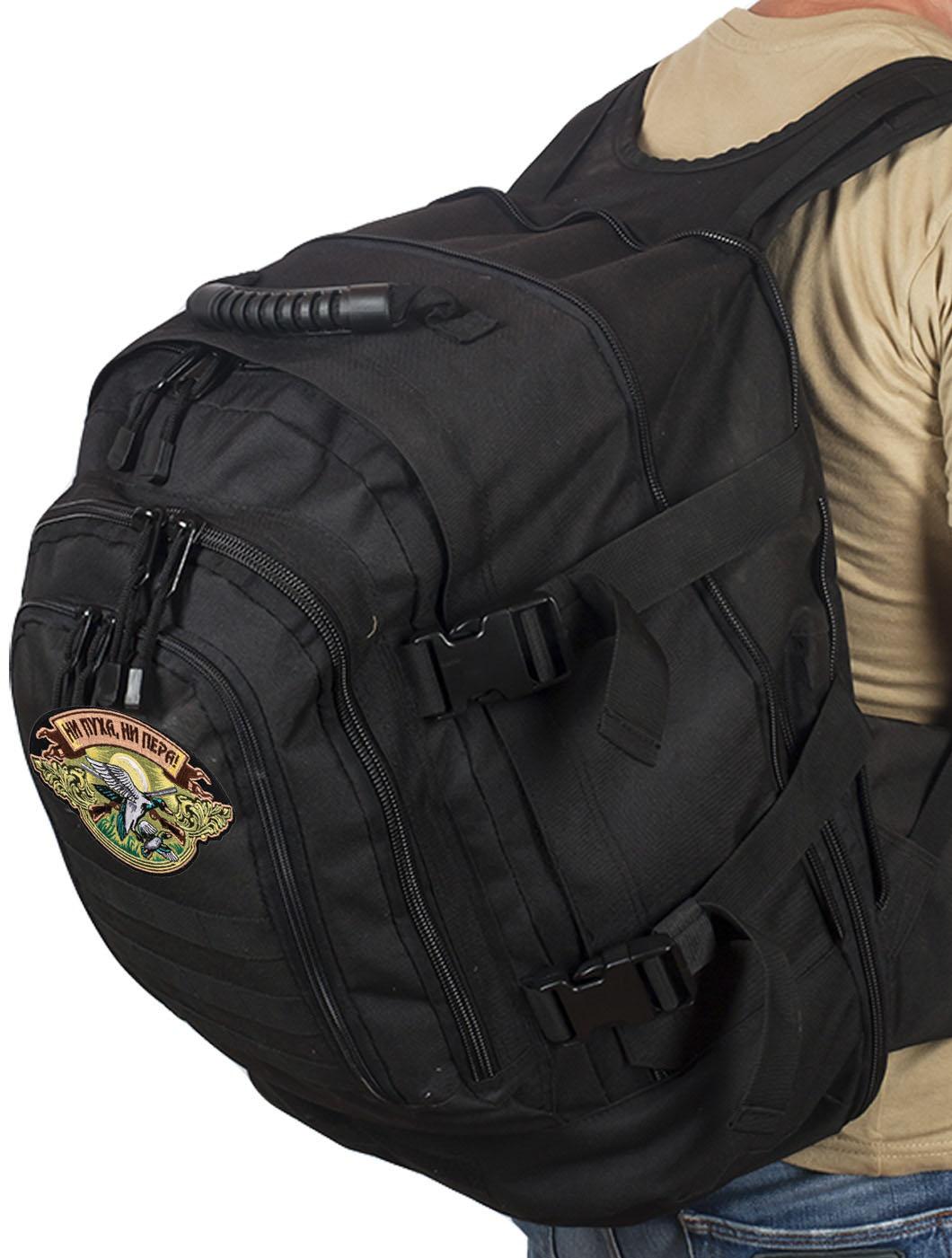 Черный трехдневный рюкзак с нашивкой Ни Пуха ни Пера - купить выгодно