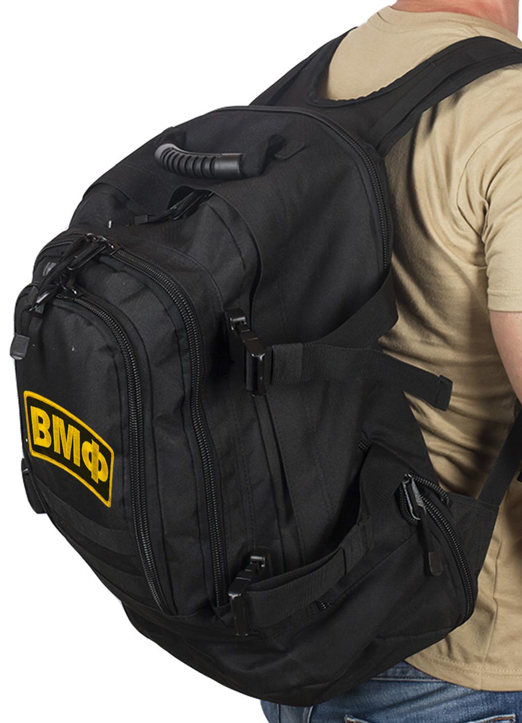 Черный универсальный рюкзак с нашивкой ВМФ - купить выгодно