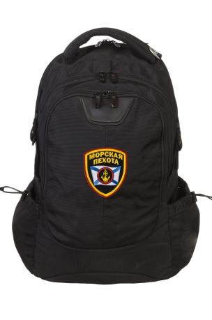 Черный вместительный рюкзак с нашивкой Морская Пехота