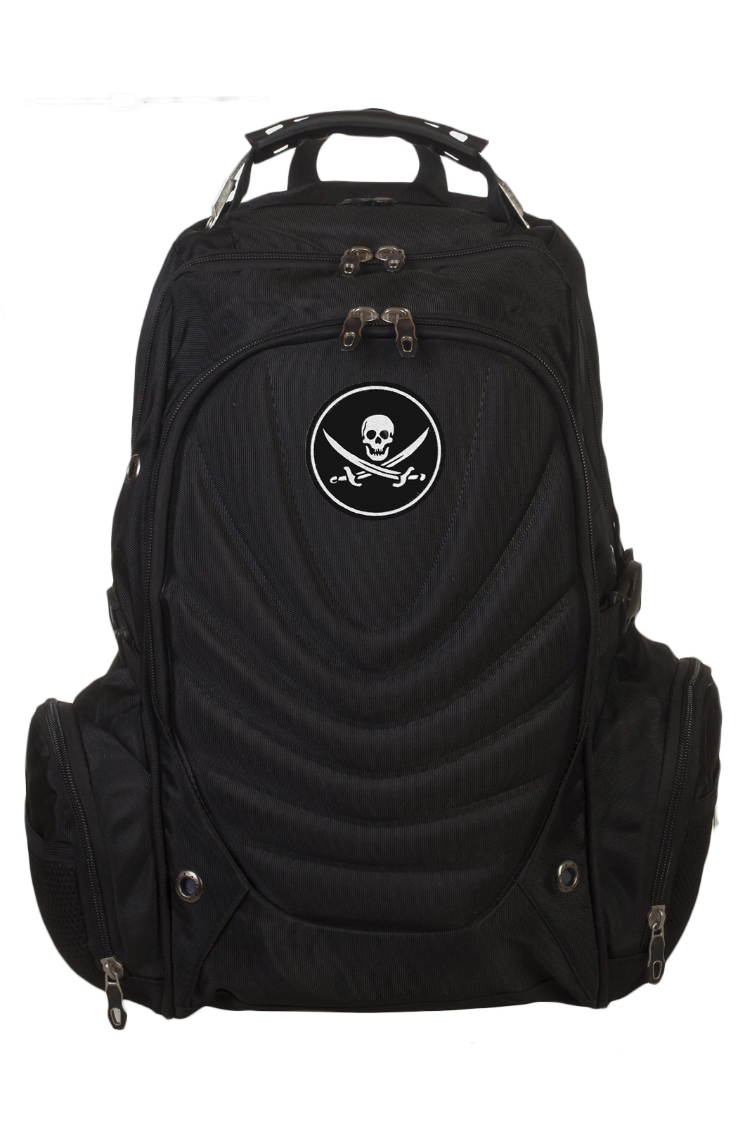 Черный вместительный рюкзак с нашивкой Пиратский флаг