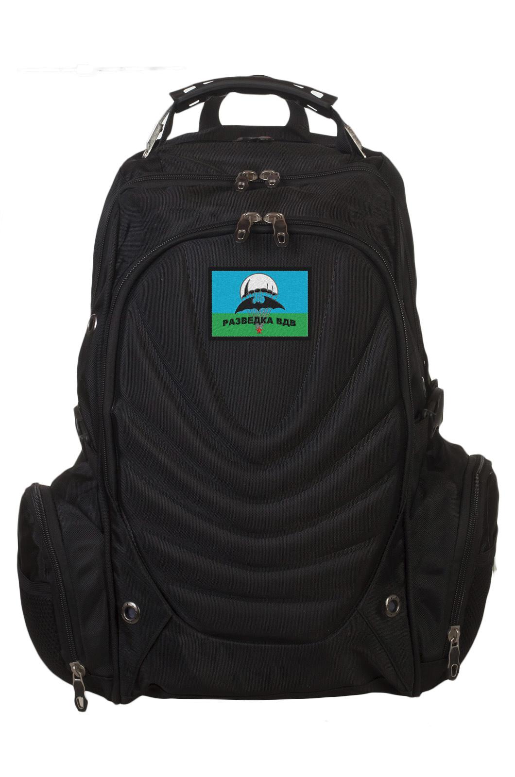 Черный вместительный рюкзак с нашивкой Разведка ГРУ