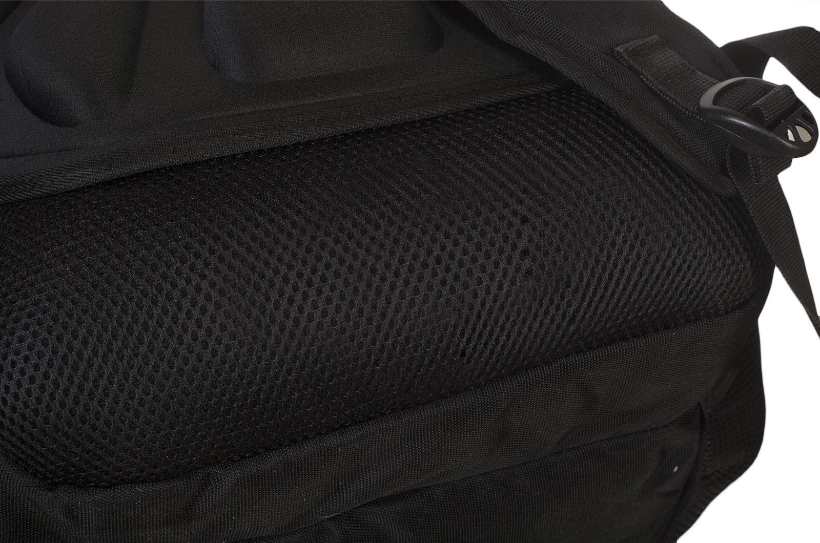 Черный вместительный рюкзак с нашивкой Разведка ГРУ - купить в Военпро