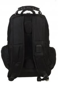 Черный вместительный рюкзак с нашивкой Разведка ГРУ - купить онлайн