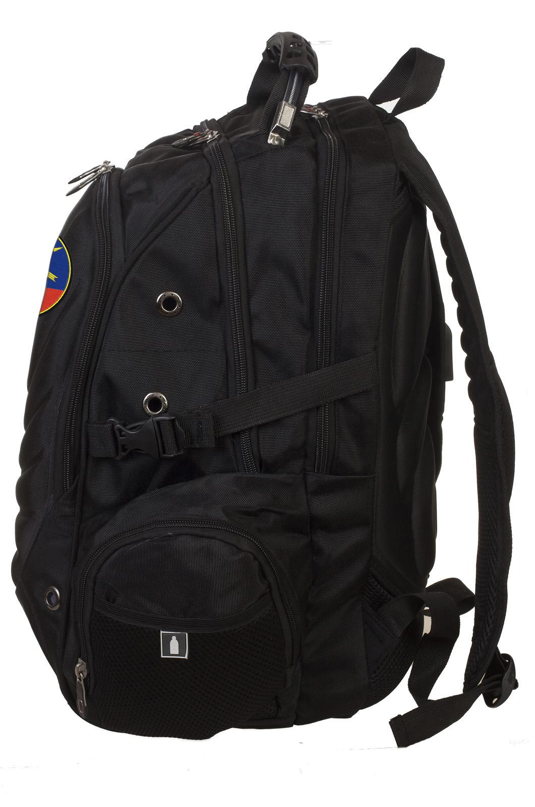 Черный вместительный рюкзак с нашивкой РВСН - купить оптом