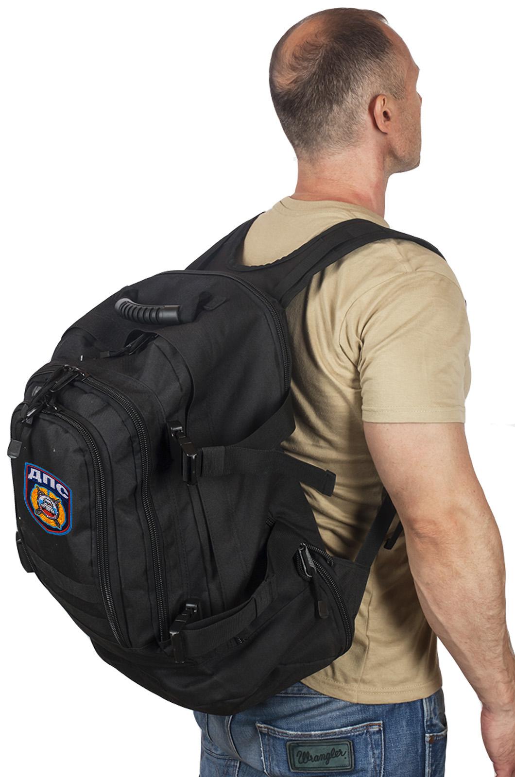 Черный военный рюкзак с нашивкой ДПС - заказать выгодно