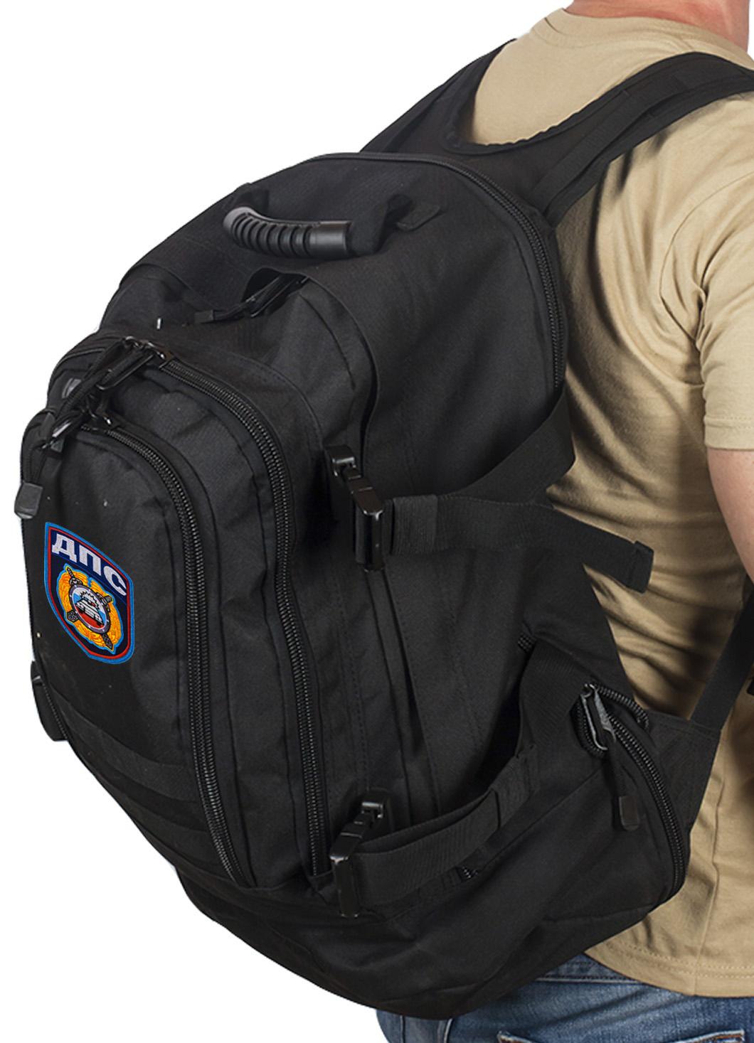 Черный военный рюкзак с нашивкой ДПС