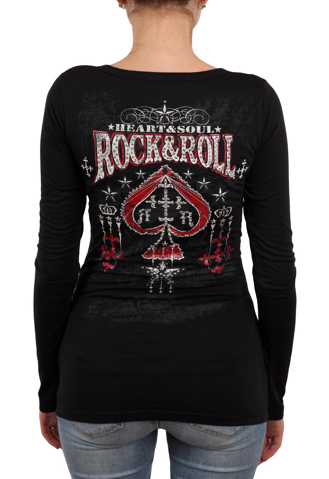 Черный женский пуловер Rock and Roll Cowgirl. Кокетливые пуговички, соблазнительное декольте, смелый принт