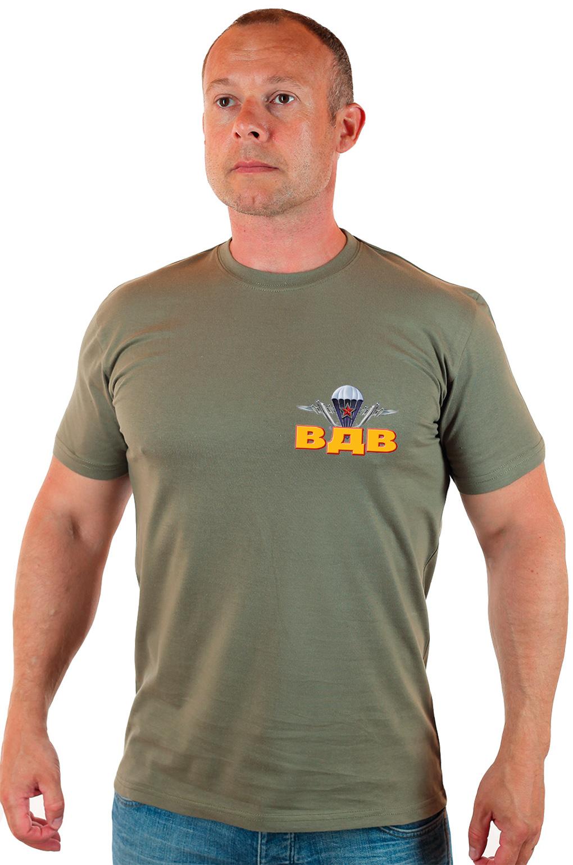 Армейская хлопковая футболка с термоаппликацией ВДВ