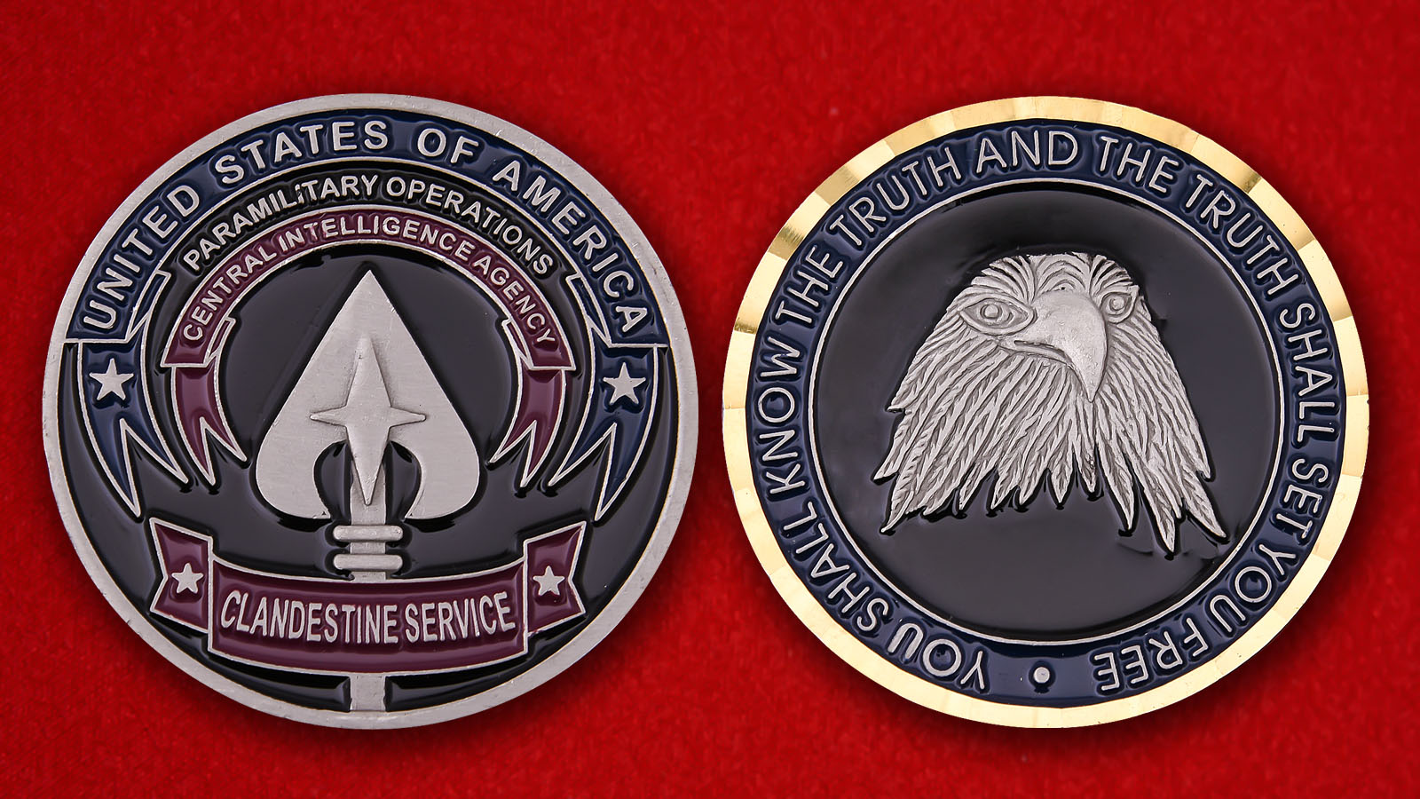 Clandestine service CIA Challenge Coin - obverse and reverse