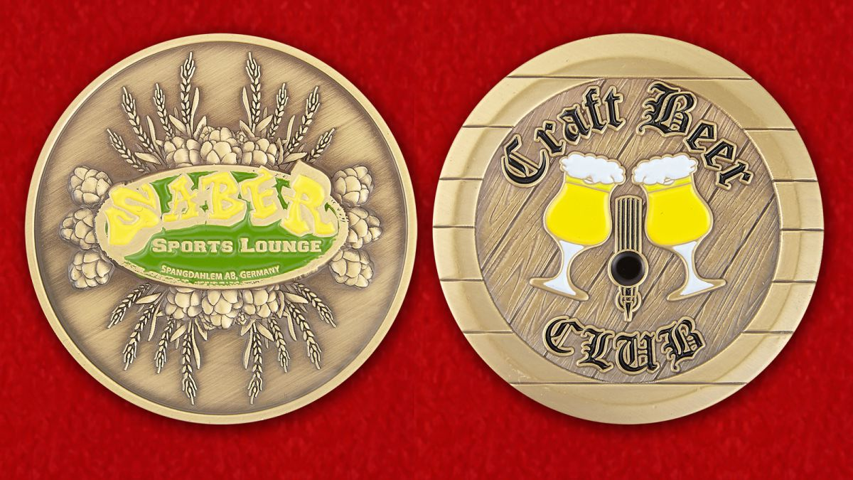 Craft Beer Club Spangdahlem AB, Germany Challenge Coin - obverse and reverse