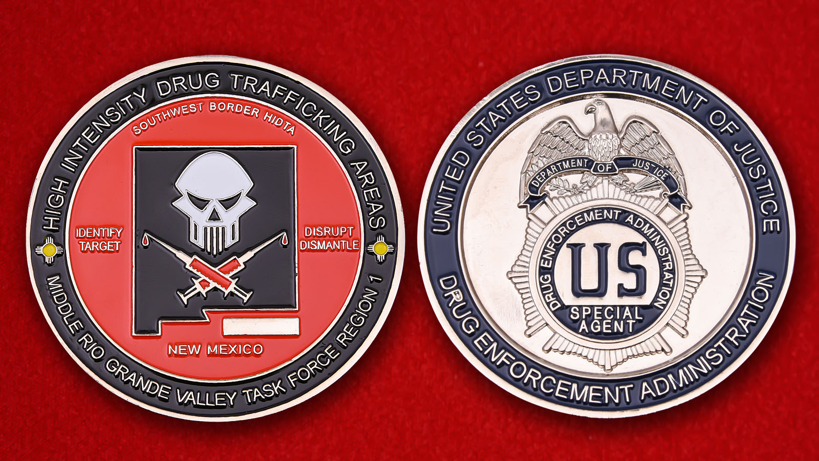DEA Middle Rio Grande Valley Task Force Region-1 Challenge Coin