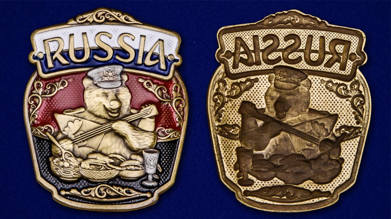 """Декоративная накладка с русским медведем """"RUSSIA"""" недорого"""