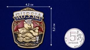 "Декоративная накладка с русским медведем ""RUSSIA"" - размер"