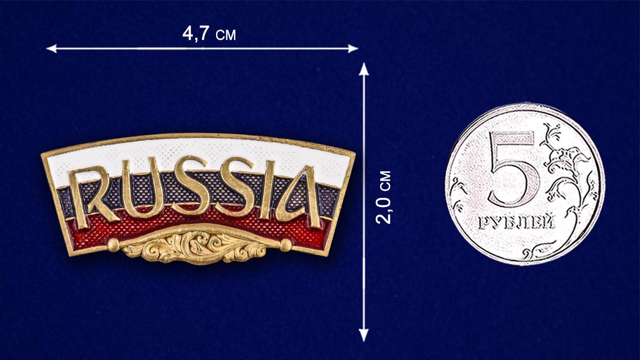 """Декоративный шильдик """"RUSSIA"""" - размер"""