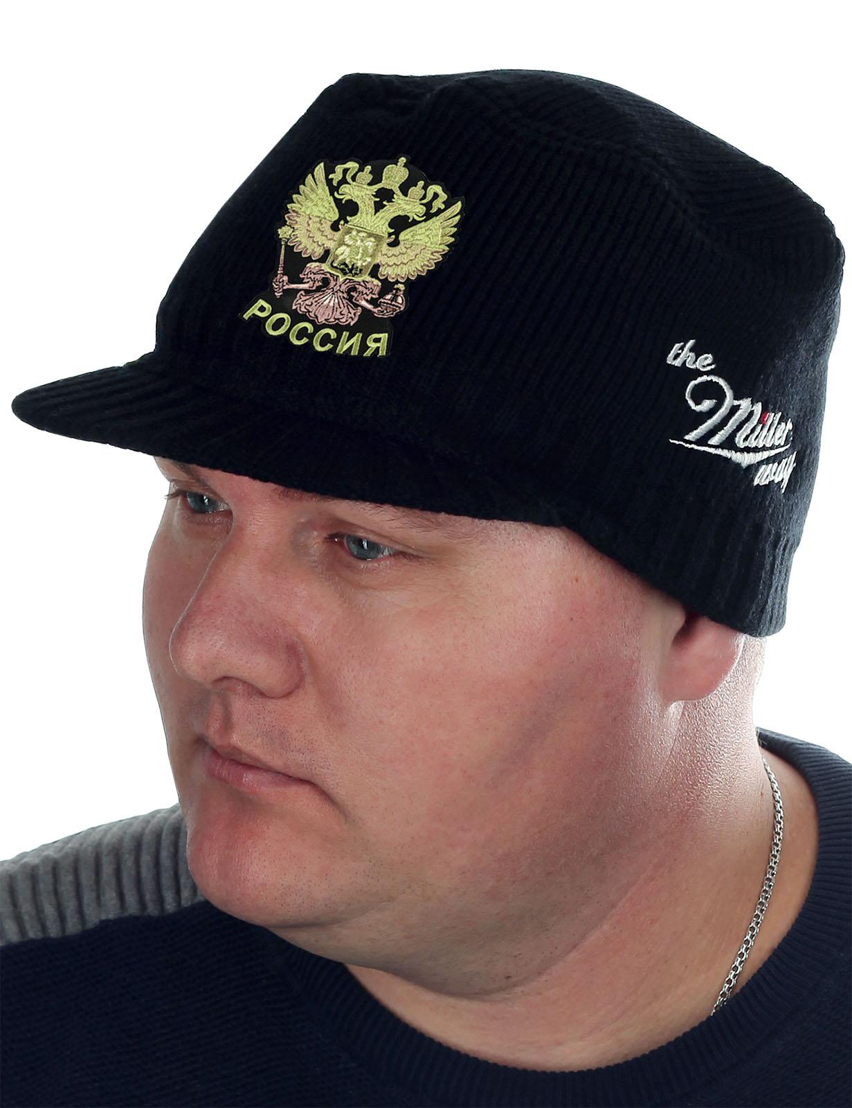 Демисезонная кепка-шапка Miller с нашивкой Герб России - заказать оптом