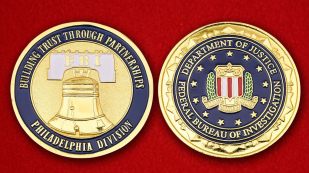 Department of Justice FBI Philadelphia Challenge Coin - obverse and reverse