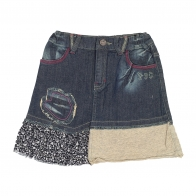 Комбинированная детская джинсовая юбка.