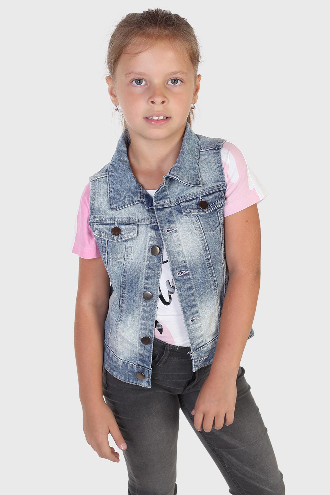 Модная джинсовая жилетка для девочки
