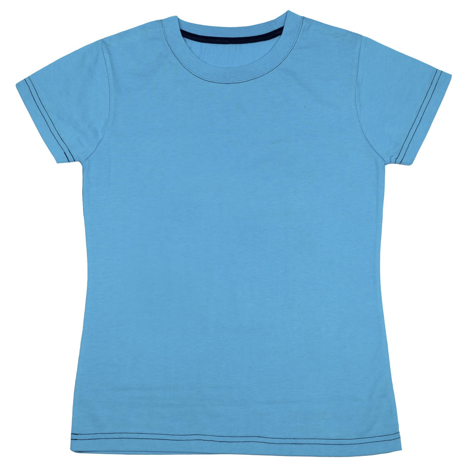 Детская однотонная голубая футболка. 100% хлопок