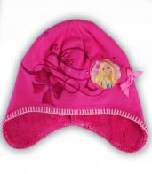 Детская розовая шапка Барби с ушками на теплой подкладке