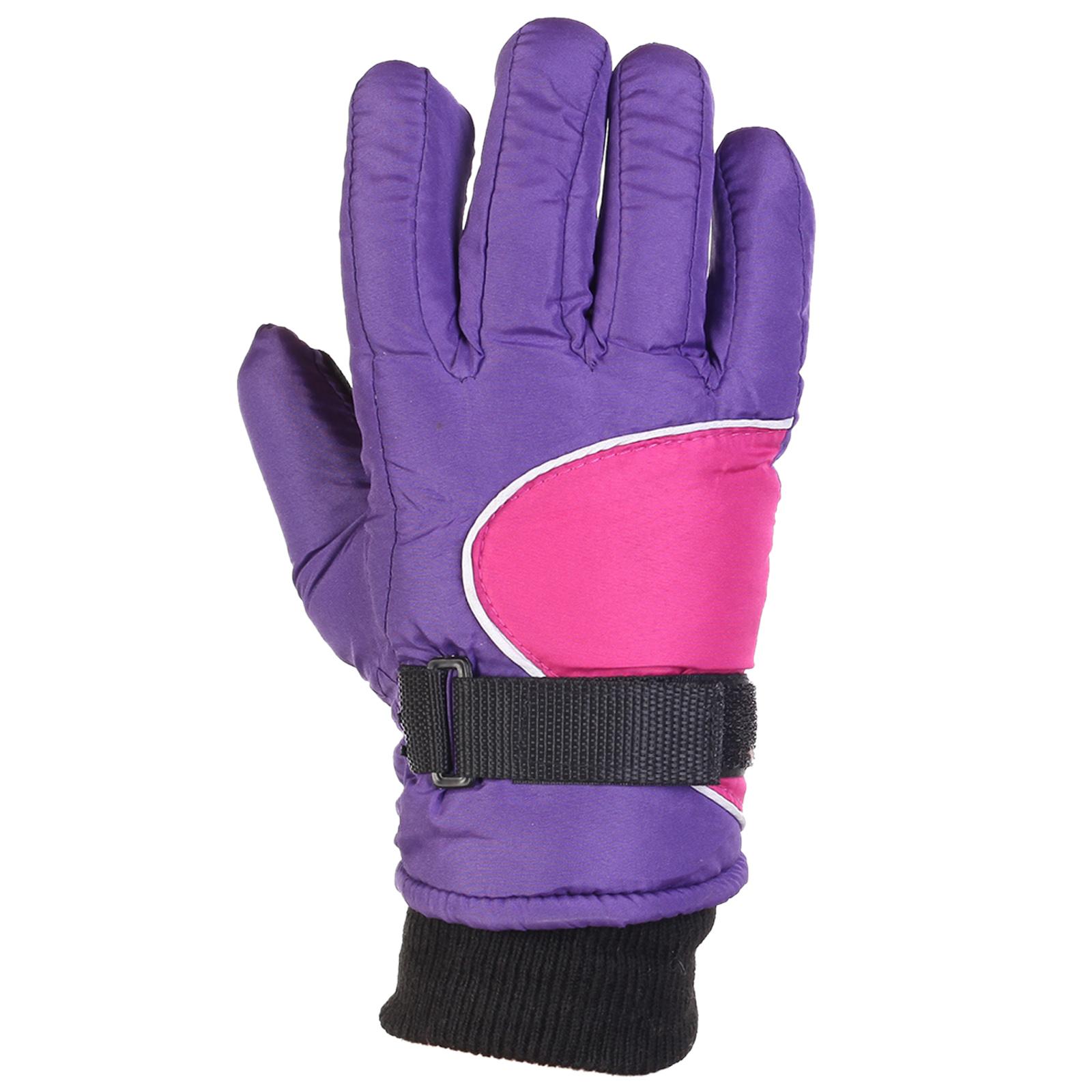 Женские детские зимние перчатки фиолетового цвета