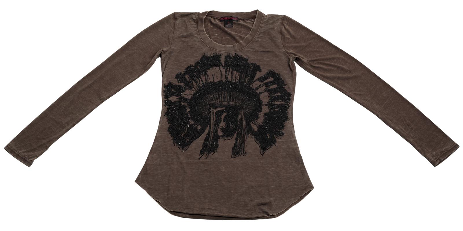 Девичья кофточка с принтованным черепом и черными стразами бренда Rock Roll COWGIRL