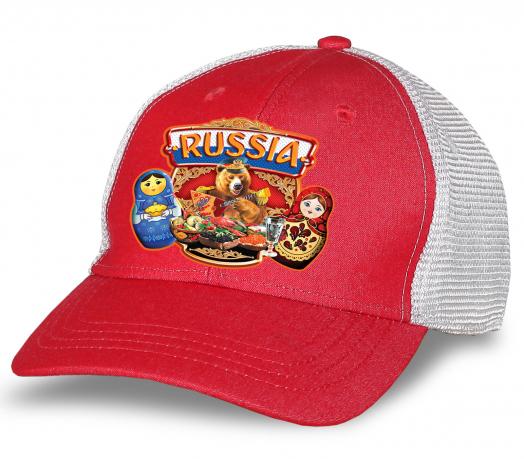 """Дизайнерская бейсболка """"Russia"""" с матрешками. Яркая и стильная модель с сеткой. Безупречное сочетание комфорта и моды"""