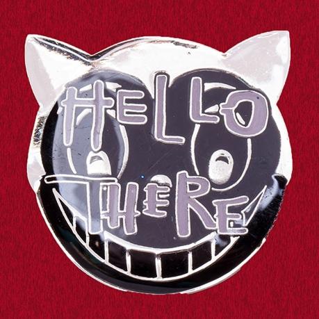 """Дизайнерский значок с котом """"Всем привет!"""