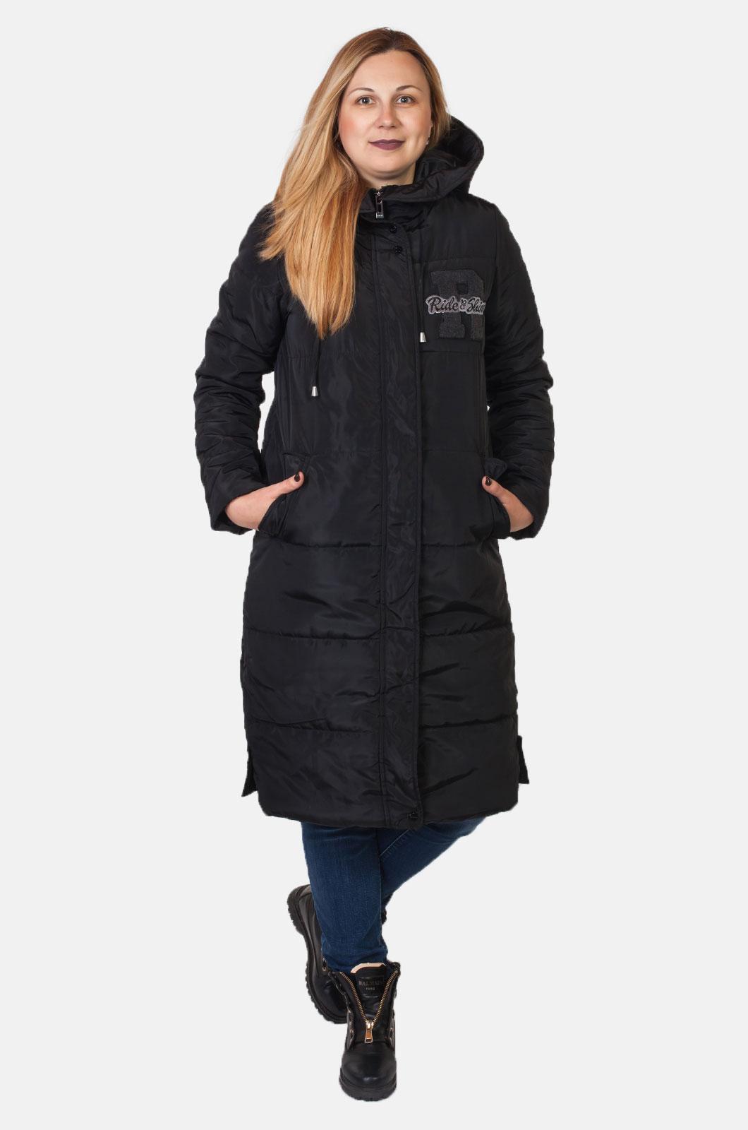 Стеганое женское пальто с капюшоном