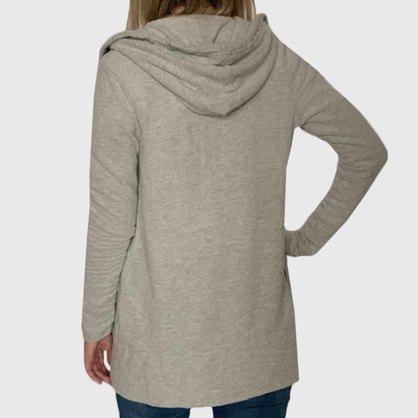 Купить в интернет магазине длинный серый кардиган с капюшоном