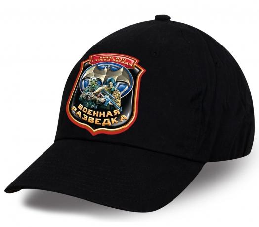 Для всех действующих и отставных разведчиков уникальный презент авторского дизайна от Военпро - черная кепка с принтом Военная разведка. Самый настоящий подарок!
