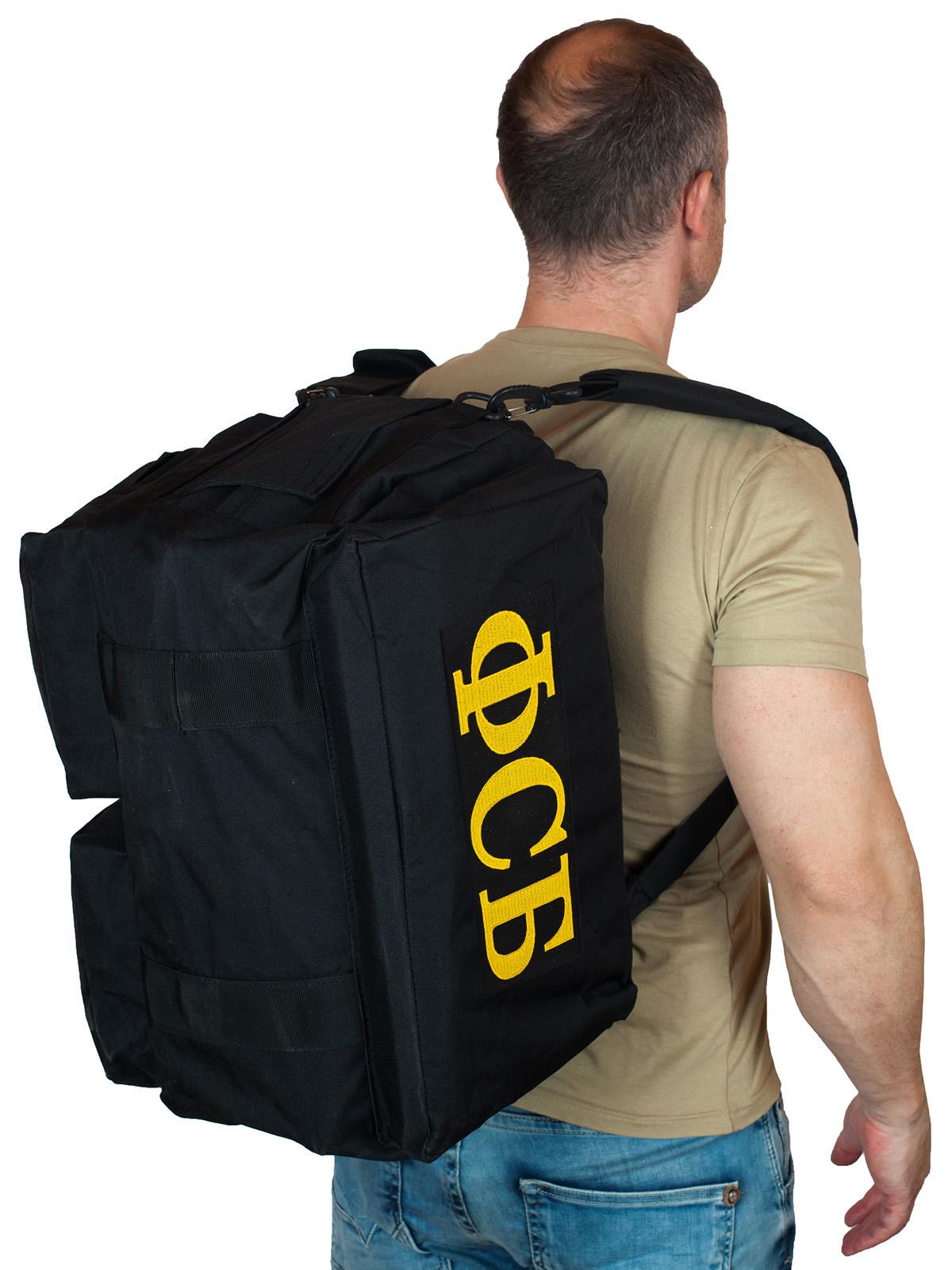 Купить дорожную черную сумку-рюкзак с нашивкой ФСБ по выгодной цене
